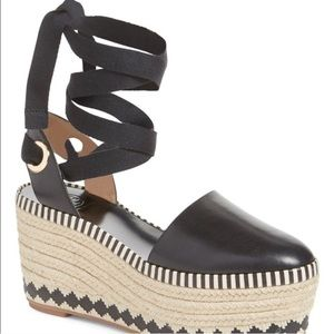Tory Burch lace up leather espadrilles